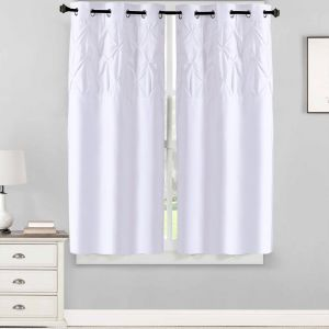 Sweet Home Collection 2 Piece Window Curtain Set With Unique Stylish Pinch Pleat Pintuck Design 63 X 38 Panel Pair White