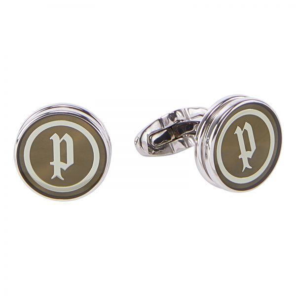 Police Stainless Steel Black Centre Mop With Logo Cufflinks - P PJ 90041CSS/01