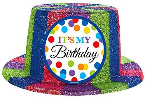 Amscan Bright Balloons Birthday Party Sparkle Top Hat Accessory Multicolor 4 1 2 X 10 11
