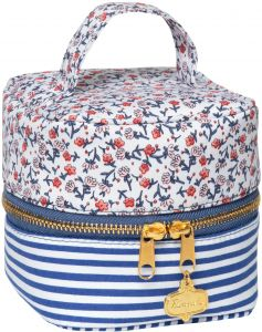 a8408293a C.R. Gibson Small Floral and Striped Travel Makeup, Cosmetic, and Toiletry  Bag, 4.5