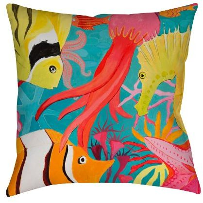 Manual Woodworkers Weavers Square Throw Pillow 16 Inch Deep Sea