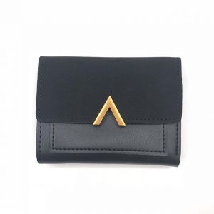Short Genuine Leather Small Wallet for Women Compact Card Holder with Photo Slot black
