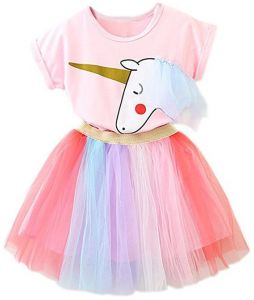 4abfc7431f68 TTYAOVO Girl Unicorn Clothing 2pcs Outfits Pink Tops & Colorful Lace Tutu  Skirts Party Dresses Girls Christmas Halloween Pony Dreams Princess for  Baby Girls ...