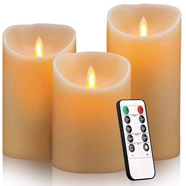 Flameless Candles Pack of 3 Battery Operated Pillar Real Wax Flickering Moving Wick Electric LED Candle Gift Sets with Remote Control Cycling 24 Hours Timer