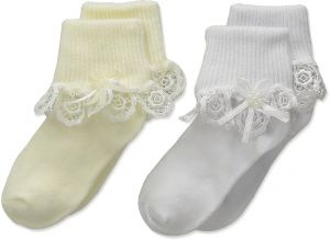 8b209aaf1835 Country Kids Baby Girls  Venice Lace Pearl Streamer 2 Pair Pack