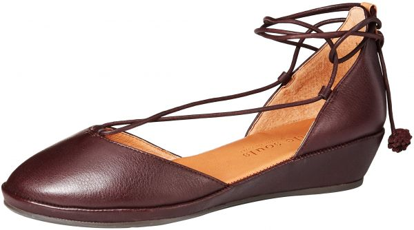 e9f6bd628799 Gentle Souls by Kenneth Cole Women s Nerissa Low Wedge with Laceup POM POM  Shoe