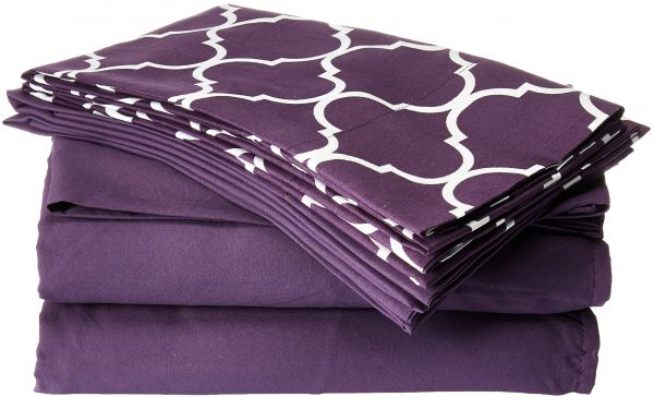 156e101f39 ... 6 Piece Sheet Set Super Soft Contemporary Geometric Pattern Print Deep  Pocket Design - Includes Flat   Fitted Sheets and Bonus Pillowcases King  Plum