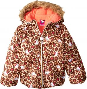ed995717a Hello Kitty Big Girls' All Over Printed Puffer Jacket with Fur Trim Hood,  Leopard, 12