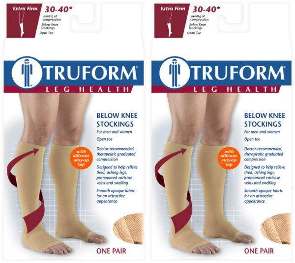 773c56aab Truform Compression 30-40 Mmhg Knee High Open Toe Dot Top Stockings ...