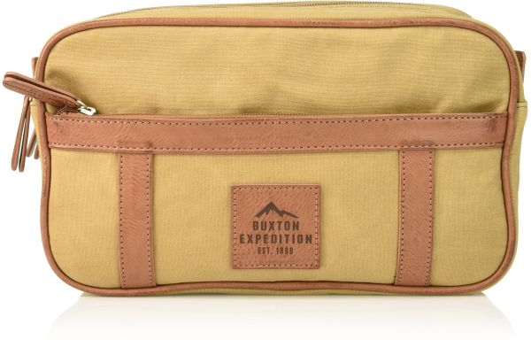 Buxton Men s Expedition Ii Huntington Gear Double Zip Canvas Travel ... b55b40db931e0