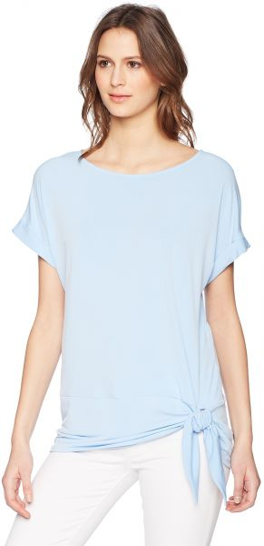 661ae0ff04e Calvin Klein Women s Short Sleeve with CDC Trim and Tie