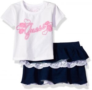 6a48fe04010db GUESS Baby Girls' Set-Short Sleeve T-Shirt and Skirt, True White, 6/9M