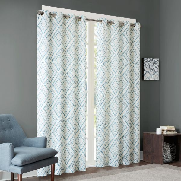 Ink+Ivy Aqua Curtains for Living Room, Modern Contemporary Grommet Curtains for Bedroom, Bas Print Fabric Light Window Curtains, 50X84, 1-Panel Pack