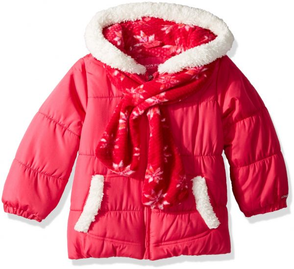 9df148397 London Fog Toddler Girls' Puffer Jacket with Scarf and Hat, Fuchsia ...