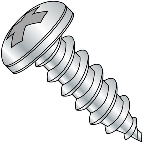 #4-20 Thread Size Zinc Plated Phillips Drive Pan Head Pack of 100 1//4 Length Steel Thread Rolling Screw for Plastic