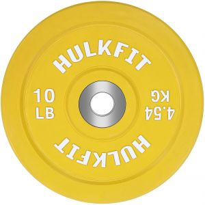 eb864c9e89b HulkFit Color Coded Olympic 2-inch Rubber Bumper Plate Steel Hub Strength  Training