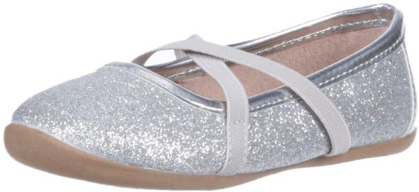 Livie luca girls aurora ballet flat silver sparkle 8 medium us