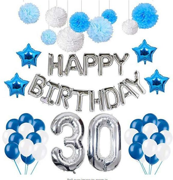 30 Birthday Decorations Puchod Happy Balloons Party Supplies Kit Blue White Latex Foil Star Balloon Paper Pom