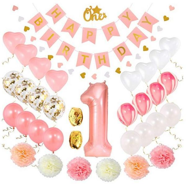 1st Birthday Girl Decorations Baby First Set Pink And Gold 1 Balloon Pom Poms