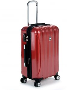 27985e33efd Delsey Luggage Helium Aero, Carry On Luggage, Hard Case Spinner Suitcase,  Red