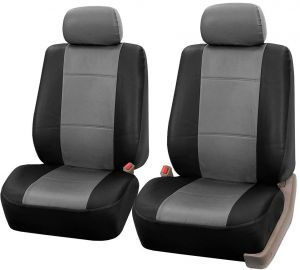Tremendous Fh Group Universal Fit Front Car Seat Cover Faux Leather Gray Black Set Of 2 Pdpeps Interior Chair Design Pdpepsorg