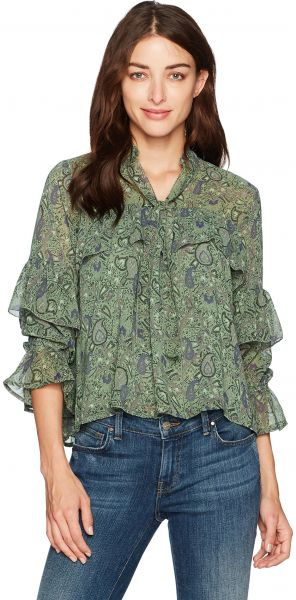 fa795bdd9b6 Lucky Brand Women's High Neck Ruffle Blouse, Green/Multi, XS