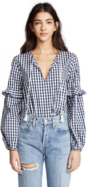 4a31da801f7c57 Splendid Women's Multi Blouson Sleeve Blouse, Blue/White, M. by Splendid,  Tops - Be the first to rate this product