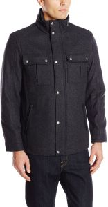 Cole Haan Signature Mens Wool Melton Stand Collar Jacket with Patch Pockets