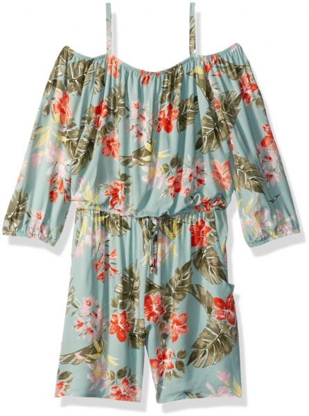 94988d5491d Amy Byer Big Girls  Long Sleeve Off Shoulder Print Romper