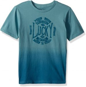 timeless design 54ab8 05a36 Lucky Brand Little Boys  Short Sleeve Graphic Tee Shirt, Mineral Blue Dip  Dye, 5