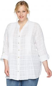 13ac5dc0f3ece Ruby Rd.. Women s Plus Size Plussize Leno Plaid Button-Front Shirt with  Roll-Tab Sleeves