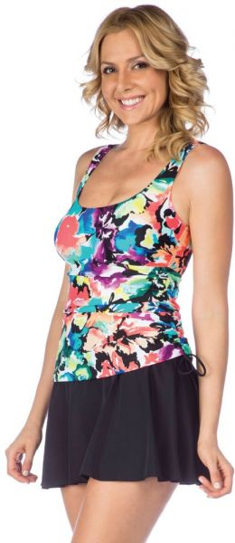 b966e30a76c7d Maxine Of Hollywood Women's Scoop Neck Side Tie Faux Tankini Swim ...