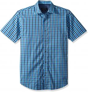 f385ef293326 Bugatchi Men's Fitted Short Sleeve Point Collar Glitch Print Cotton Shirt,  Turquoise, XL   Souq - UAE