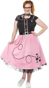 dc7e41dc15f0 California Costumes Women's Plus Size Pink 50'S Sweetheart Adult Woman  Costume, Black/Pink, 2X Large