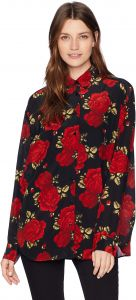34ea46fe13 The Kooples Women's Women's Button Down Shirt with Big Red Roses Print,  Black/Red, 3