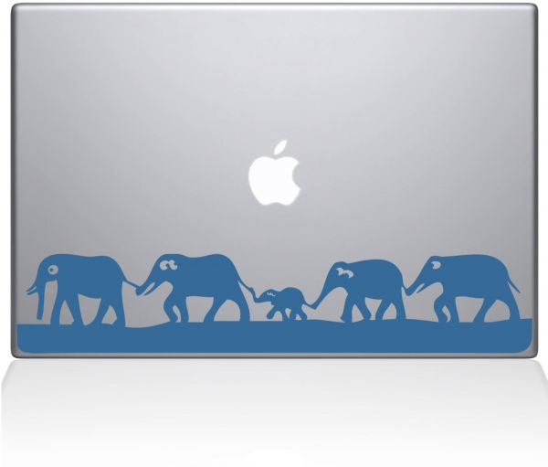 "The Decal Guru 0152-MAC-13P-LB Elephant March Vinyl Sticker, 13"" MacBook Pro ‫(2015 & Older), Blue"