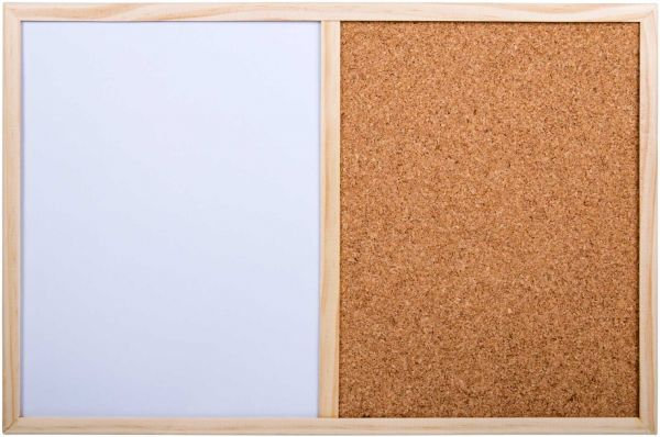 Office Works, Small Half White and Cork Board, 11 5 x 17 5 inches, Pack of  12, White, Beige