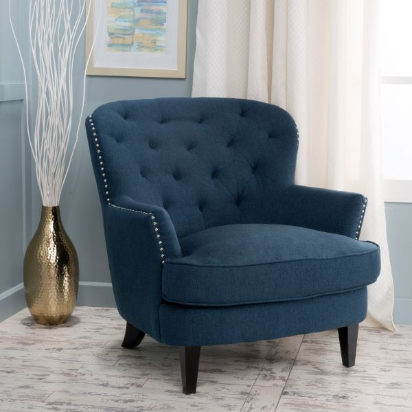 Aveton Diamond Tufted Deep Blue Fabric Club Chair Souq Uae
