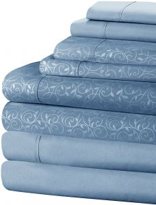 69e9ef049 Home Dynamix New York Loft 8 Piece Sheet Set (2 Complete Sets of Sheets-One  Vine Pattern   One Solid) Medium Blue Full Double Brushed Microfiber