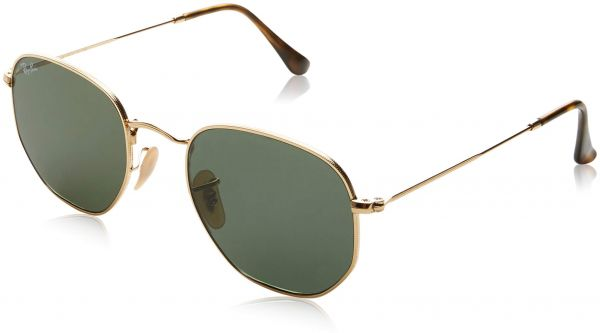 718486420f Ray-Ban Unisex RB3548N Hexagonal Sunglasses - Gold Frame Green Lenses