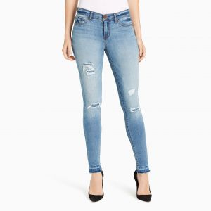 db06ea02 William Rast Women's Perfect Skinny Jean, Blue Cadet/Destruction and  Fading, 27