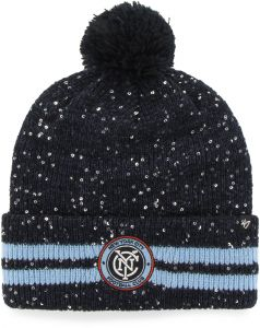 033fbdaf979365 '47 MLS New York City FC Women's Amelia Cuff Knit Beanie with Pom, Navy,  One Size