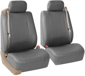 FH Group PU309SOLIDGRAY102 Gray Front PU Leather Seat Cover Set Of 2 Built In Belt Compatible Airbag Ready Solid
