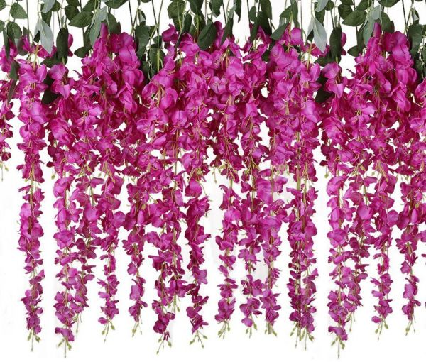 Ysber 612 Piece Artificial Fake Wisteria Vine Rattan Hanging Silk