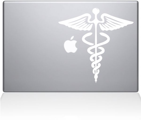 "The Decal Guru Medical Symbol MacBook Decal Vinyl Sticker  - 15"" Macbook Pro ‫(2016 & newer) - White ‫(1127-MAC-15X-W)"