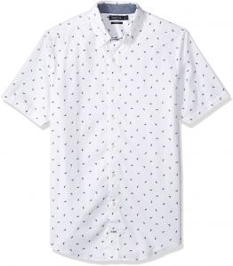 Nautica Mens Short Sleeve Signature Print Button Down Shirt
