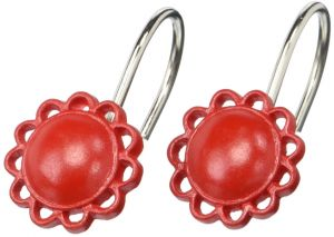 Carnation Home Fashions Filigree Resin Shower Curtain Hooks Red Set Of 12