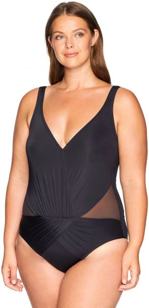 21857610e9c6 Kenneth Cole REACTION Women s Plus Size Tummy Control Shirred V-Neck One  Piece Swimsuit