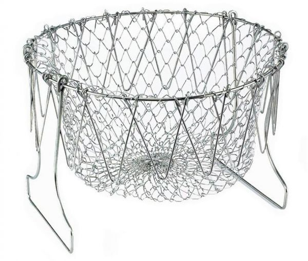 Stainless Steel Foldable Steam Rinse Strain Fry French Chef Basket Magic Basket Mesh Basket Strainer Net Kitchen Cooking Tools