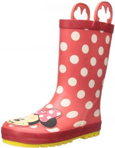 Western Chief Kids Waterproof Disney Character Rain Boots With Easy On Handles Minnie Mouse 3 M US Little Kid
